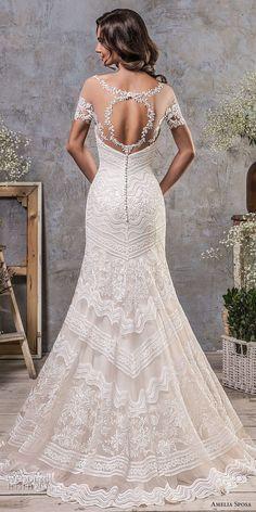 amelia sposa fall 2018 bridal short sleeves illusion boat neck semi sweetheart neckline full embellishment elegant trumpet wedding dress keyhole back sweep train (3) bv