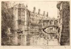 St John's Library and Bridge of Sighs, Cambridge by Mabel Oliver Rae (1868-1956) Signed lower left, inscribed with title and numbered 41/80 lower right Etching In a cream conservation grade mount (matt) In good condition, as illustrated Plate: 18.3 x 27.8 cm; mount: 33.4 x 46 cm
