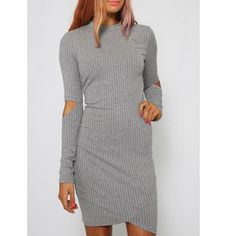 "Hallow Sleeve Dress Long sleeve soft cotton blend dress with cut out sleeve details and envelope hemline. Measures: 18"" arm pit to arm pit, 30"" waist, 38"" hip, 32"" shoulder to hem. Trend Dresses Long Sleeve"