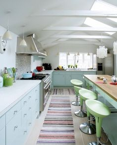 Light but colorful kitchen.