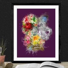 Floral Gothic Print. Digital Download.  Dramatic Art. Unusual Living Room. Victorian Style Clothing, Movement Drawing, Dramatic Arts, Pastel Goth, Dark Art, Bold Colors, Printable Art, Tea Party, Gothic