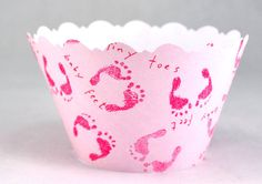 Baby Feet Pink Cupcake Wrappers by DecadentIcing on Etsy Cupcake Liners, Cupcake Wrappers, Pink Cupcakes, Baby Feet, Beautiful Babies, Special Events, Shower Ideas, Icing, Baby Shower