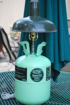 Vintage Freon Can Lamp, Upcycle Decor by CatkinsCreations on Etsy