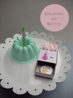 Einladungskarten - 4x Einladung Geburtstag Prinzessin ♥ mit Button - ein Designerstück von Herzensladen bei DaWanda