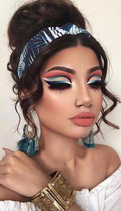 Fun Colorful Eyeshadow Ideas For Makeup Lovers Part eyeshadow looks; eyeshadow looks step by step Unique Makeup, Gorgeous Makeup, Love Makeup, Natural Makeup, Makeup Tips, Makeup Ideas, Fun Makeup, Makeup Hacks, Perfect Makeup