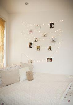 Cute tween girl room idea - Bedroom Fairy Light Wall