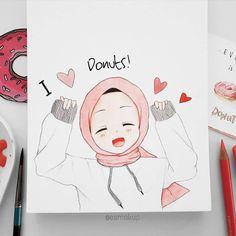 Islamic Wallpaper Hd, Hijab Drawing, Islamic Cartoon, Anime Muslim, Hijab Cartoon, Girly Drawings, Kawaii, Pretty Art, Anime Art Girl