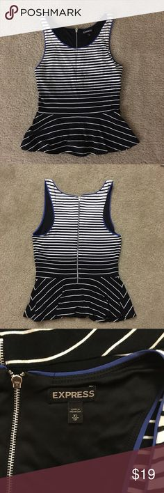 Striped Sleeveless Peplum Top 🔸Worn handful of times. It is still in great condition  🔸Dress up or dress down ❓Any question? Please feel free to message me Express Tops Tank Tops