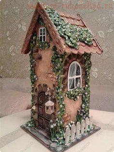 Farmhouse, Primitive Birdhouse, Rustic Birdhouse, Functional Birdhouse , Amish F. - My Garden Decor List Clay Houses, Ceramic Houses, Miniature Houses, Clay Fairy House, Fairy Garden Houses, Fairy Crafts, Cute House, Home Candles, Little Houses