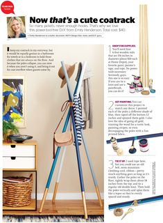 DIY wooden dowel Coatrack in Redbook