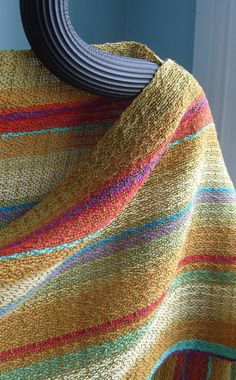 Handwoven Shawl, Woven Scarf, Wrap, Painted Mountains