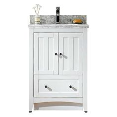 This modern vanity set belongs to the exquisite shaker design series. It features a rectangle shape. This vanity set is designed to be installed as a floor mount vanity set. It is constructed with ply White Vanity Set, Vanity Set With Mirror, White Sink, Single Sink Bathroom Vanity, Single Vanities, Bathroom Sinks, Bathrooms, Engineered Stone, Modern Vanity