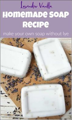 This homemade soap recipe is easy and smells amazing. See how to make your own s… This homemade soap recipe is simple and smells fantastic. See how you can make your own soap with no lye at home with this Lavender Vanilla DIY Soap recipe. made soap Handmade Soap Recipes, Soap Making Recipes, Handmade Soaps, Handmade Crafts, Handmade Rugs, Diy Soap Easy, Diy Soaps, Homemade Bar, Homemade Vanilla