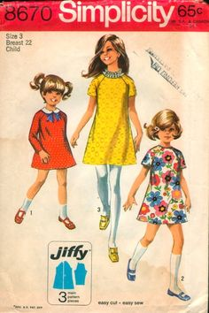 "Simplicity 8670; ©1969; Simple-To-Sew Child's and Girls' Jiffy Dress: The dress has raglan sleeves, high round neckline and back zipper. V. 1 with long sleeves has contrasting ""Peter-Pan"" collar and ribbon bow. V. 2 and 3 have short sleeves. V. 2 features picot edging trim. V. 3 features ruffling trim. [insert your photos of this pattern made up]"