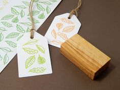 Scattered Leaves Olive Wood Stamp
