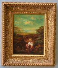 Antique 19C Oil Painting Girl With Dog