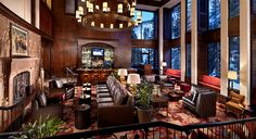 Vail Cascade Resort & Spa in Vail, CO. The beautiful lounge area of the resort at dusk!