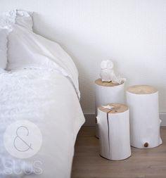 exemple table de chevet rondin de bois