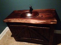 Exceptionnel Rustic Vanity With Black Walnut Top And Copper Sink.