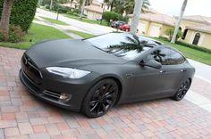 Matte black on black Tesla