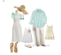 Another great summer look - white, off-white, tan, and light aqua.
