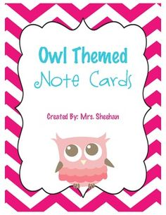 You get two owl note card designs.  Each note requires just a half sheet of paper. Enjoy!...