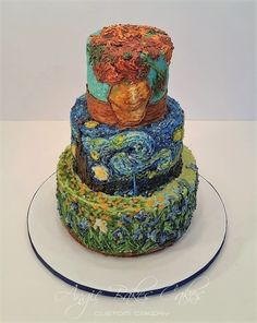 all buttercream decorated Van Gogh cake Sunflowers, Starry Night, Irises Pretty Cakes, Cute Cakes, Beautiful Cakes, Amazing Cakes, Fantasy Cake, Hand Painted Cakes, Fashion Cakes, Cake Decorating Techniques, Fancy Cakes
