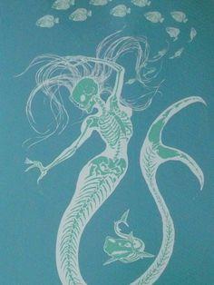 Mermaid Skeleton Giclee Print
