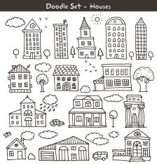 buildings doodles vector art illustration
