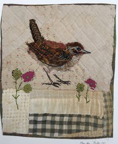 Unframed appliqued wren with embroidery on to by MandyPattullo Bird Applique, Raw Edge Applique, Wool Applique, Applique Ideas, Applique Designs, Quilting Designs, Fabric Birds, Fabric Art, Fabric Crafts