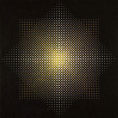"""Almir Da Silva Mavignier (b. 1925, Brazilian/German), """"2 Quadrate [Two Squares]"""", Oil on Canvas, Size: 100 x 100 cm., ['KineticArt' pre-'OpArt', Acquired in 1982], (1967)."""