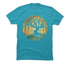Druid Tree Men's X-Large Turquoise Heather Graphic T Shirt - Design By Humans, Blue