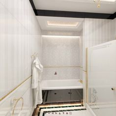Details include ornaments on the toilet, bidet, and sink, and gold-colored accessories, #shower handles, outlets and light switches. Light Switches, Outlets, Toilet, Sink, Art Deco, Bathtub, Shower, Ornaments, Gold