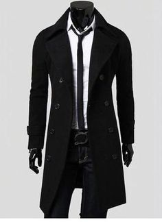 0630bf7f1 Men's Double Breasted Overcoat with Side Pockets - Free Shipping Trench  Coats, Pánska Zima,