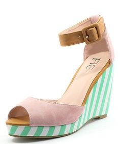 9a04172aa37b Pink   Green Stripe Ernie Platform Wedge Shoes Heels Wedges