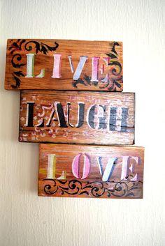 Pallet wall decoration     LIVE # LAUGH # LOVE        NZ$39