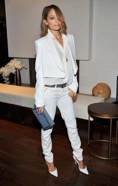 Nicole Richie wearing Manolo Blahnik Tayler Pumps in White, Jennifer Meyer  Small Triangle Studs with Diamonds, Bottega Veneta Krim Intreccia. c79763038f