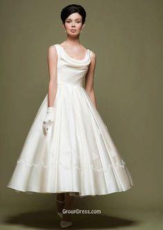 Tea Length Sleeveless Ivory Stylish A-Line Satin Spring Wedding Dress Cowl Neck