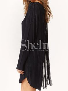 Black Long Sleeve Tassel Dress 18.99