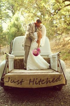 Just Hitched rustic wedding / burlap by grandlion