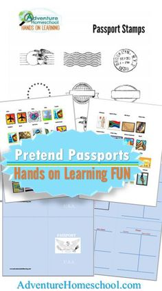 Pretend Passports - FREE tools for Hands on Learning - Geography, History fun for homeschool! Stickers for countries & virtual travel.