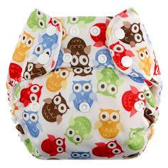 Blueberry One Size Deluxe Nappies, Snaps, Bamboo, Owls