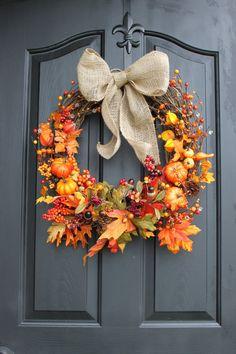 Fall Wreath - Wreaths - Door Wreaths - Burlap Wreaths - Fall Wreaths - Etsy Wreaths - Berry Wreath