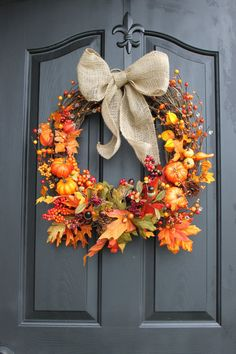 Fall Wreath - Wreaths - Door Wreaths - Burlap Wreaths - Fall Wreaths - Etsy Wreaths - Berry Wreath