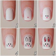 nail art tutorial / nail art designs + nail art + nail art designs for spring + nail art videos + nail art designs easy + nail art designs summer + nail art diy + nail art tutorial Easter Nail Designs, Easter Nail Art, Animal Nail Designs, Cute Nails, My Nails, Trendy Nails, Nails 2017, Bunny Nails, Nagellack Design