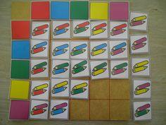 Matrix met kleurpotloden: sorteren volgens kleur. www.pinterest.com/liestr