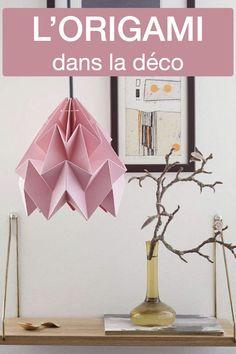 L'origami dans la déco intérieure Vase Origami, Rose Pastel, Creation Deco, Blog Deco, Clem, Diy, Home Decor, Bird Mobile, Paper Vase