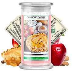 Cash Money Candles | Surprise Valued at $2 - $2,500 | 21oz Jar Soy Candle | Hand Poured Made in The USA | Baked Apple Pie>>> You can get additional details at the image link. (This is an affiliate link) #jarcandles