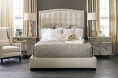 Evening Oasis: A neutral palette gives this bedroom calm serenity--and let the details do the talking. Albert Queen Bed, $1,399. Sherwin Williams Porpoise