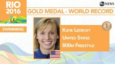 8/12/16 Via ABC  · Katie Ledecky wins Gold, sets world record in 800m Freestyle. She has 4 #Gold medals at #Rio2016. #USA